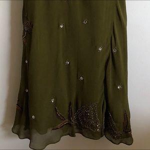 Dresses - Adrianna Papell Olive-Green Beaded V-Neck Dress